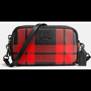 Women's Red Mount Plaid Crossbody Pouch In Leather